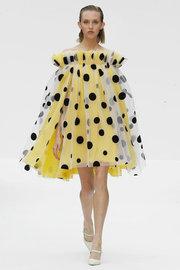 Carolina Herrera Yellow dress dots silk