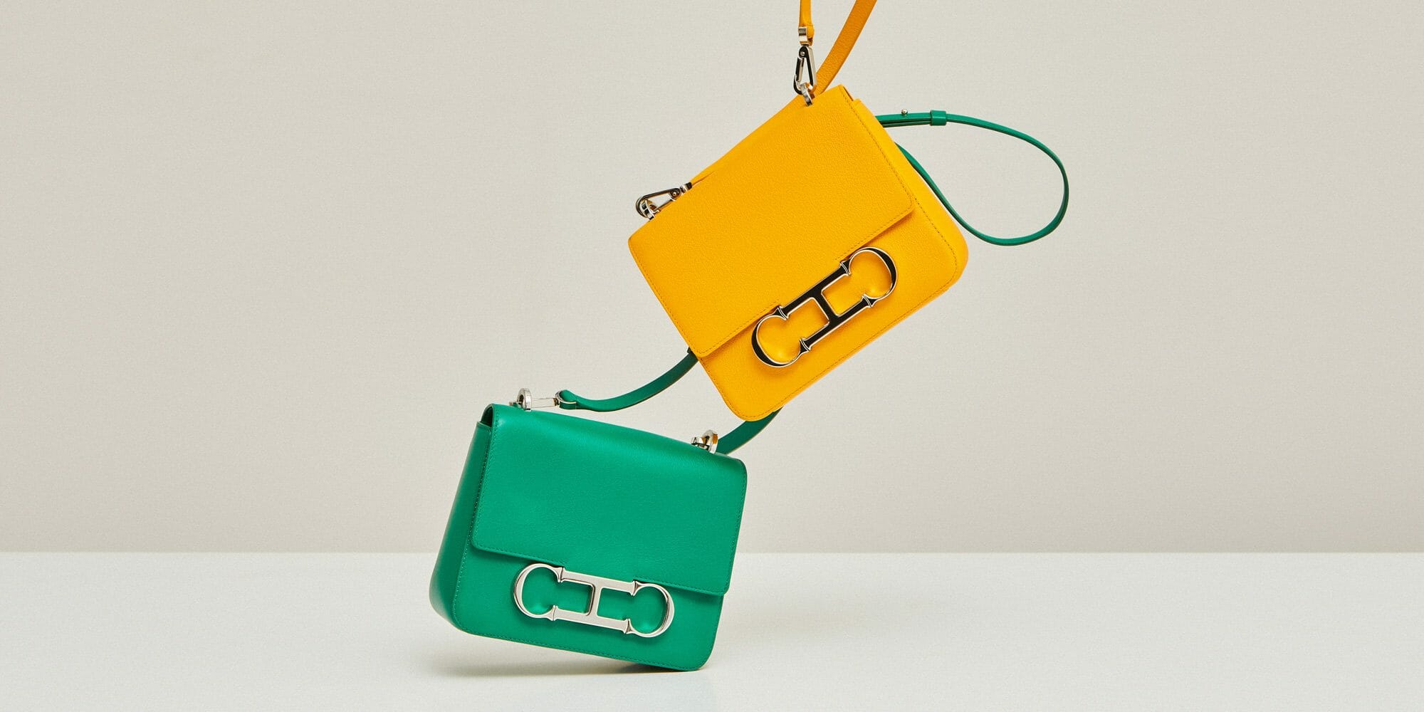 ch carolina herrera green and yellow bag