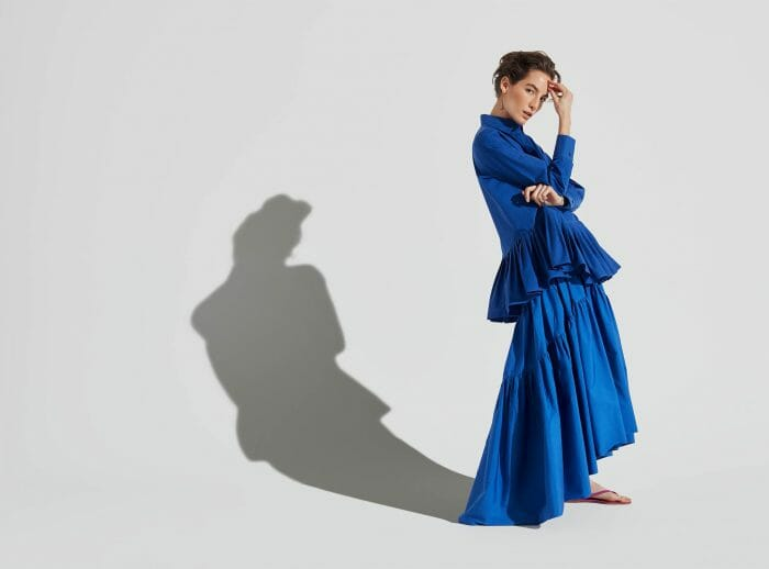 CH Carolina Herrera. New Womenswear Collection Painted in blue. Look 02